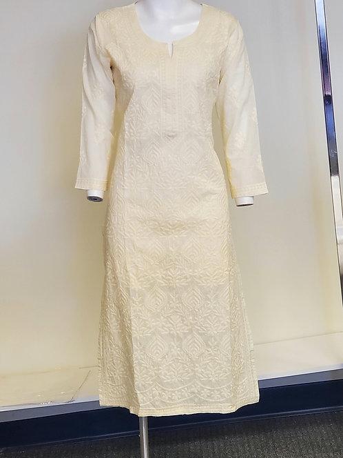 Cotton Chikan Work slim fit long Kurti / Top
