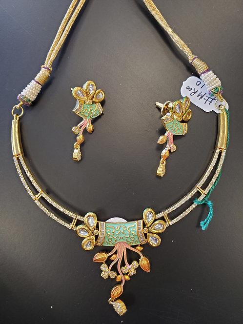 Gold Tone Meena Work Jewelry Set