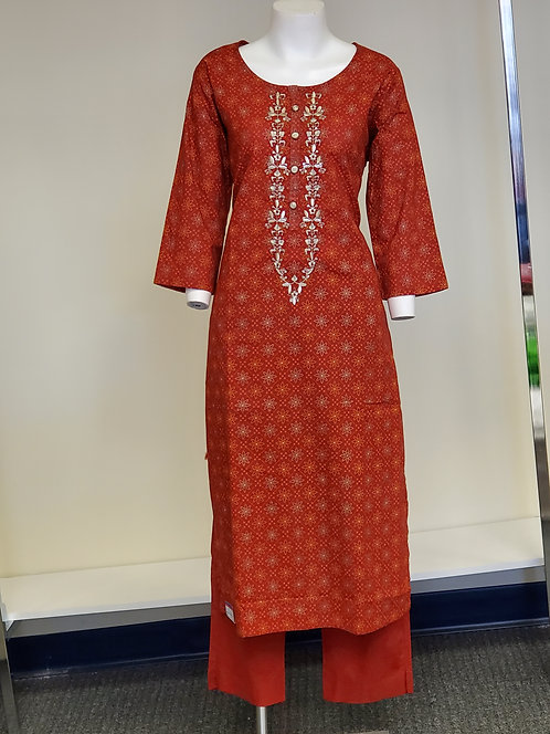 Red Cotton Suit / Dress