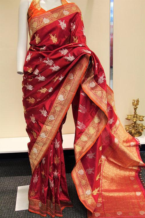 Red Pure Katan Silk Banarasi Kadiyal Handloom Saree with Sona - Rupa Zari Boota