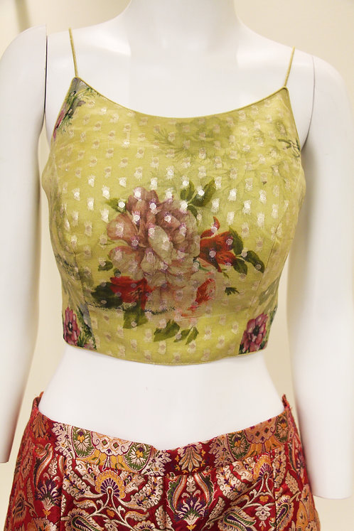Pure Chanderi Silk Floral Print Designer Blouse