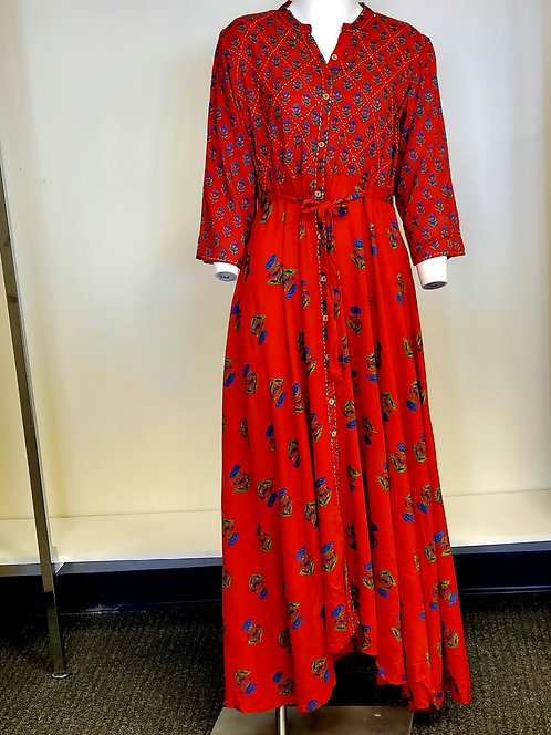 Beautiful Red Cotton Gown / Kurti