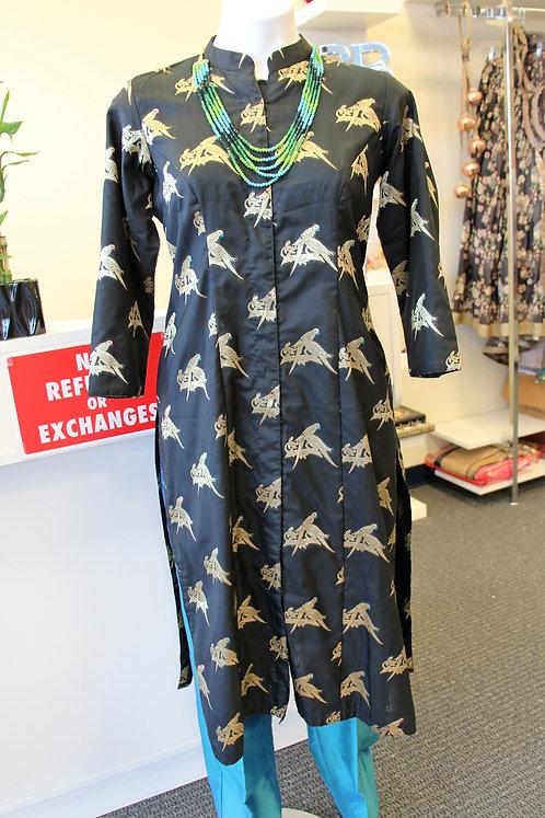 Bird figure Banarasi Silk Kurta with Silk Pants