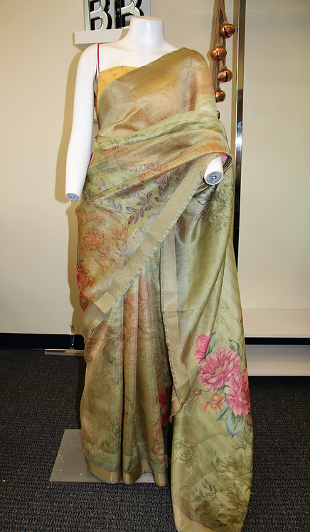 Mint Green digital print floral organza nylon saree