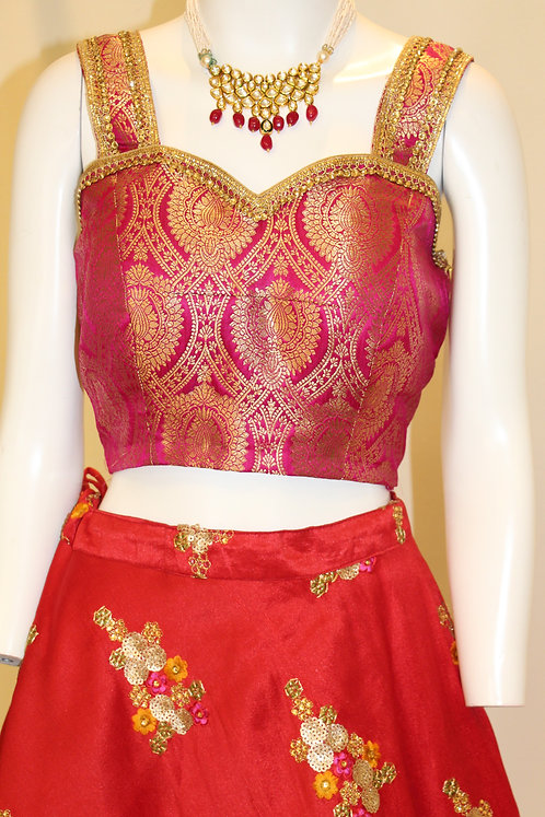 Fuchsia color banarasi brocade designer blouse/top