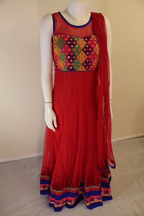 Red Anarkali Ankel Length Suit