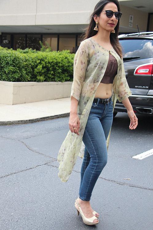Pure Kora Silk floral long Jacket