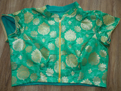 Sea Green With Golden Motifs Banarasi Silk Saree Blouse