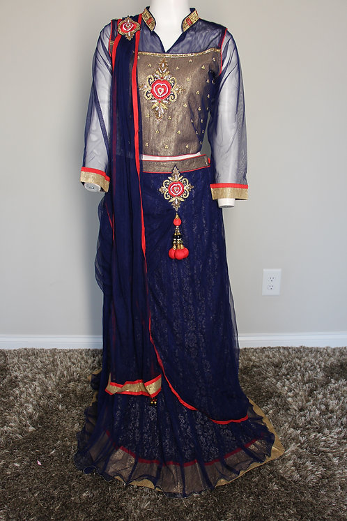 Navy blue Lehenga With attached Dupatta