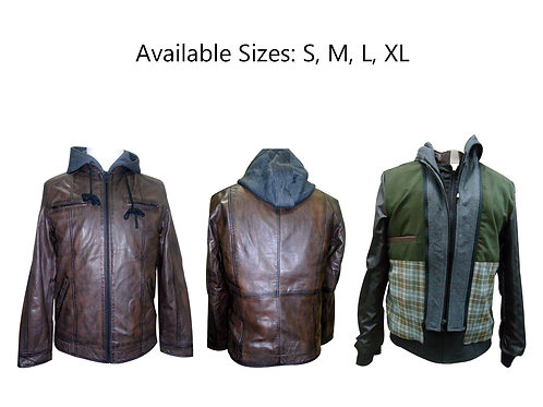 low price hoodie leather jacket for men