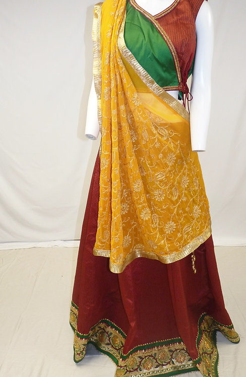Maroon and Green Chaniya Choli with Contrast Mustard Chiffon Dupatta