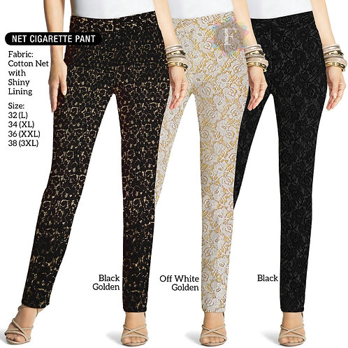 Embroidered net cigarette pants