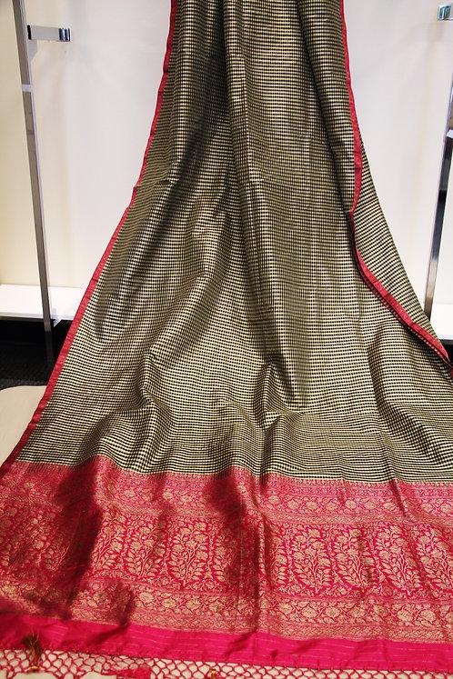 Black-Beige Checks Pure Katan Silk Banarasi Handloom Saree