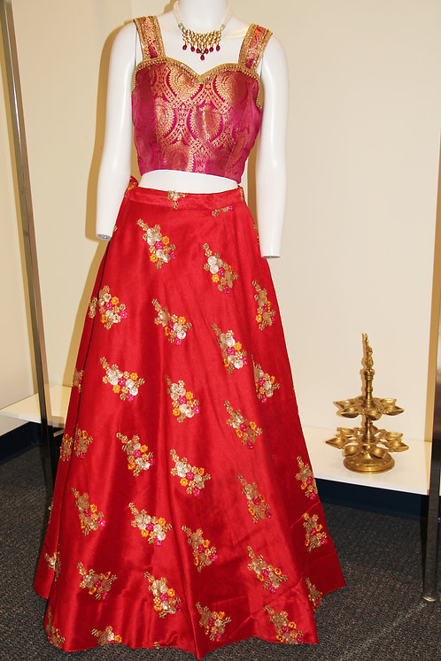 Imitation Raw Silk Red Embroidered Skirt(Only)