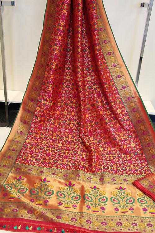 Red Rani Banarasi katan silk Patola  weaving with Paithani Border and Achal