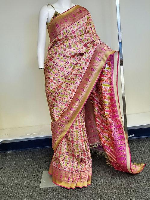 White - Pink Banarasi katan silk Patola  weaving with Paithani Border and Achal