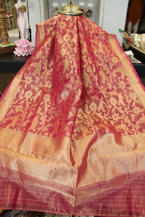 Pure Tissue Silk Handwoven Shikaragah Banarasi Dupatta / Stole