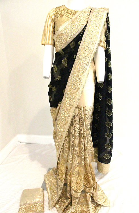 Designer Fancy half and half saree