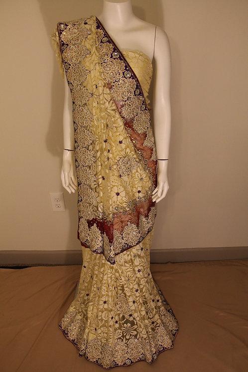 Brasso heavy embroidered Saree