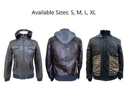 leather bomber hoodie jacket