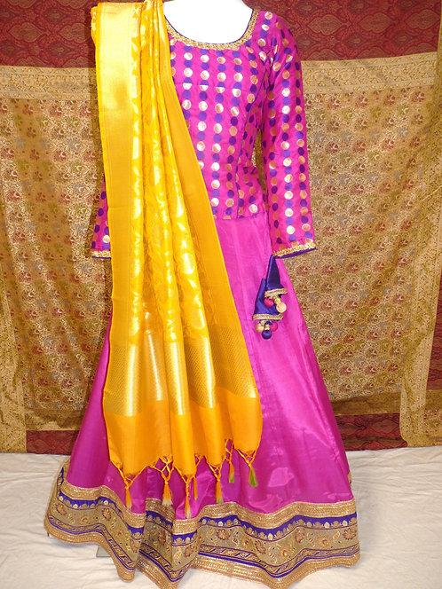 Fuchsia color 2pcs Chaniya Choli Set(Dupatta not included)
