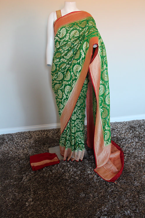 Red and Green Pure Banarasi Khaddi Silk Georgette