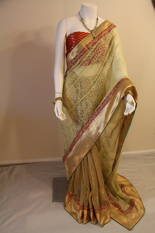 Elegant Jute Silk and Net Chiken work Half and Half Saree
