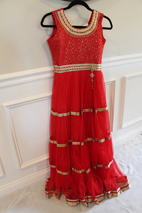 Red Floor Length Gown