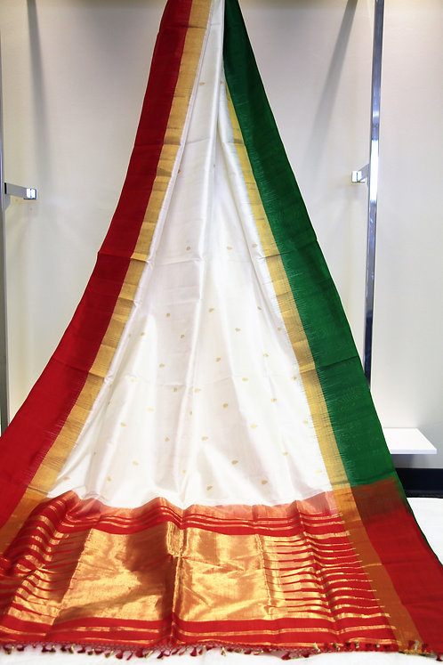 Offwhite and Red Pure Kanchipuram Silk Saree