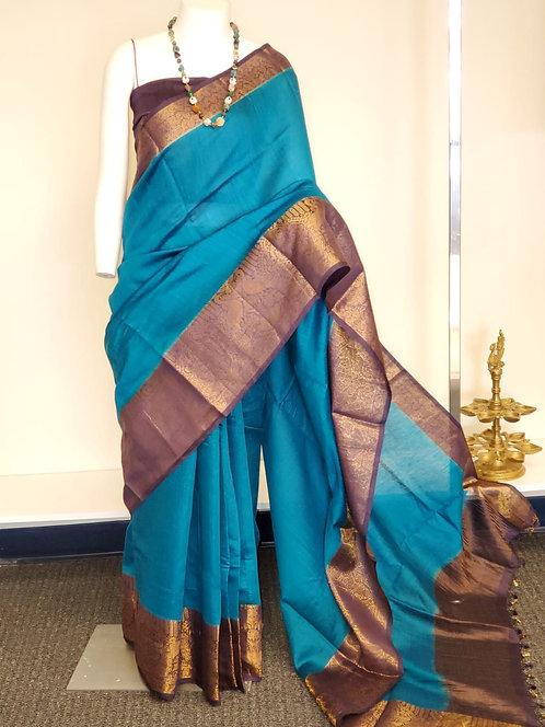 Moonga Silk Plain saree with antique zari bird figure Kanchi Border.