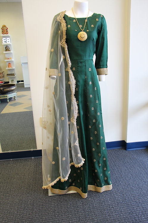 Bottle Green Silk Embroidered Gown