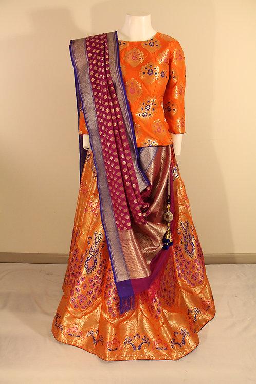 Banarasi Semi Katan Silk Meena Kari Lehenga