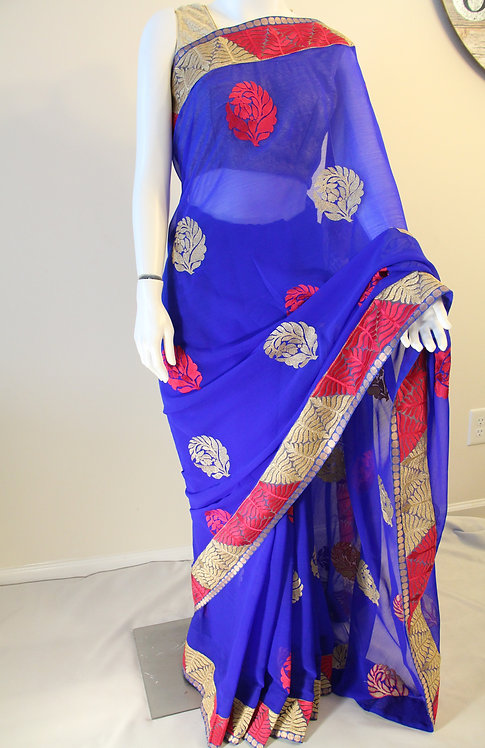 Royal Blue Fancy Chiffon Saree