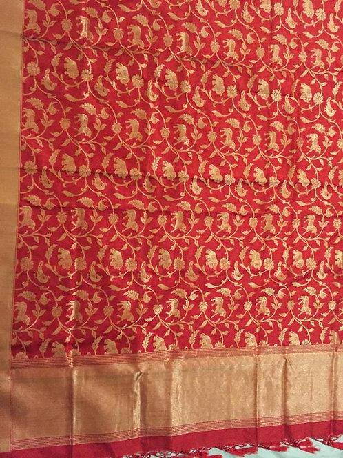 Red Pure Banarasi Katan Silk Shikaragah Duptta
