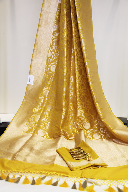 Yellow Shade Pure Katan Silk Handloom Banarasi Saree