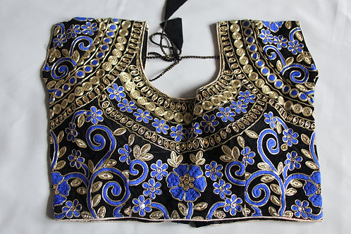 Black with Golden and Blue resham embroidered blouse