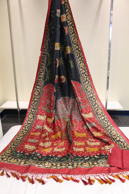 Pure Hand-loom Tusser Printed Saree with Cow Print