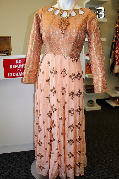 Fancy peach color Gown(Dupatta is optional)