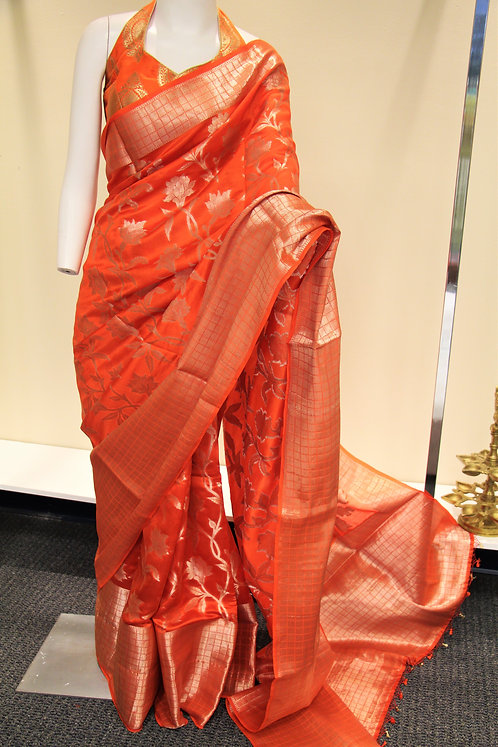 Banarasi Dupion Silk Saree in shade of Orange and Gold