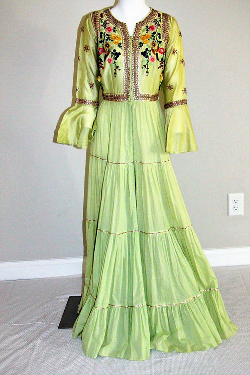 Pista Color Gown Style Embroidered Dress
