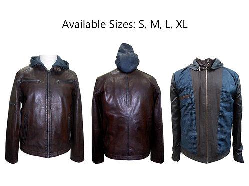 leather hoodie men's jacket on sale