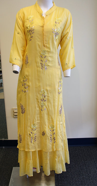 Yellow double layered embroidered gown