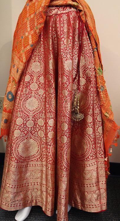 Red Pure Katan Silk Banarasi Handloom Lehenga(only)