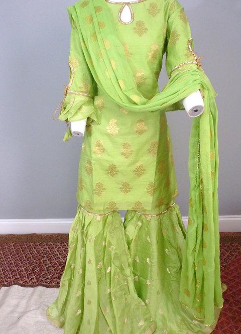 Parrot Green Chanderi Silk Sharara Suit with Chiffon Dupatta