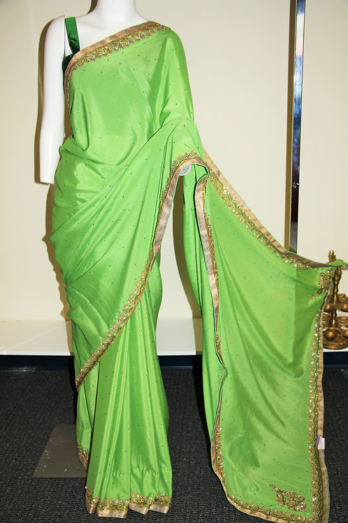Parrot Green Fancy Chiffon Embroidered Saree