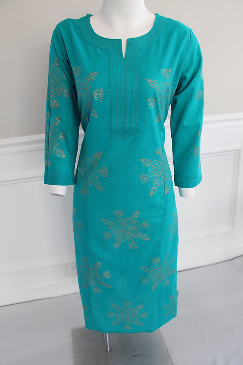 Turquoise gold painted kurti