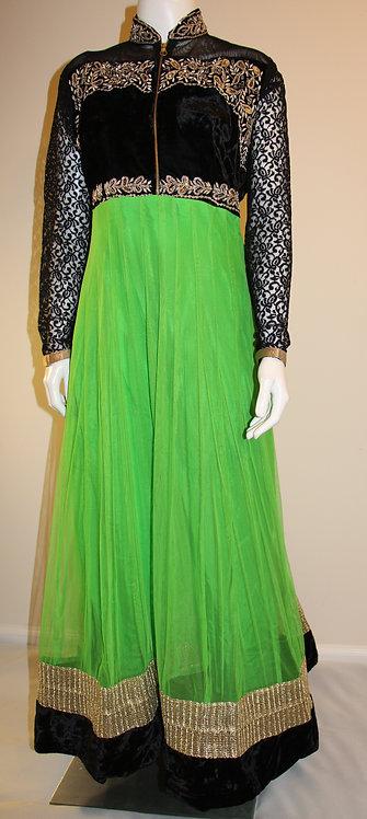 Green and Black Ankel Length Anarkali