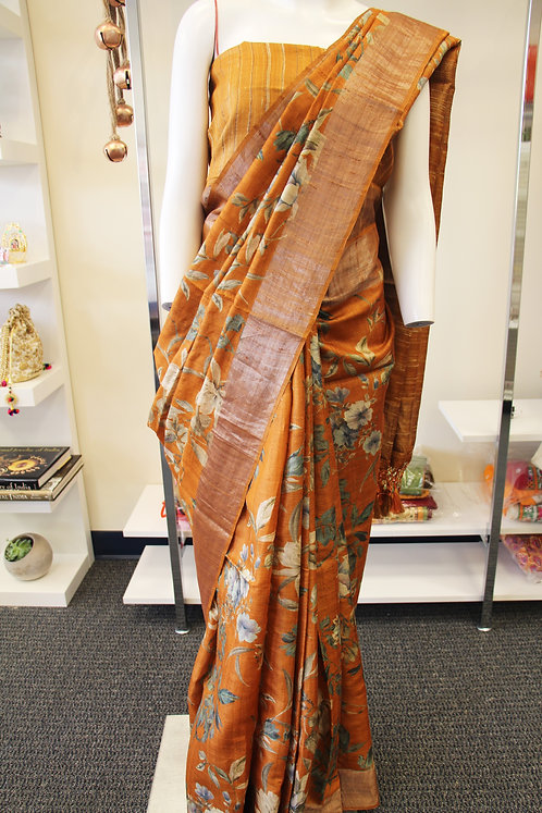 Camel brown digital print floral banarasi pure tusser silk saree