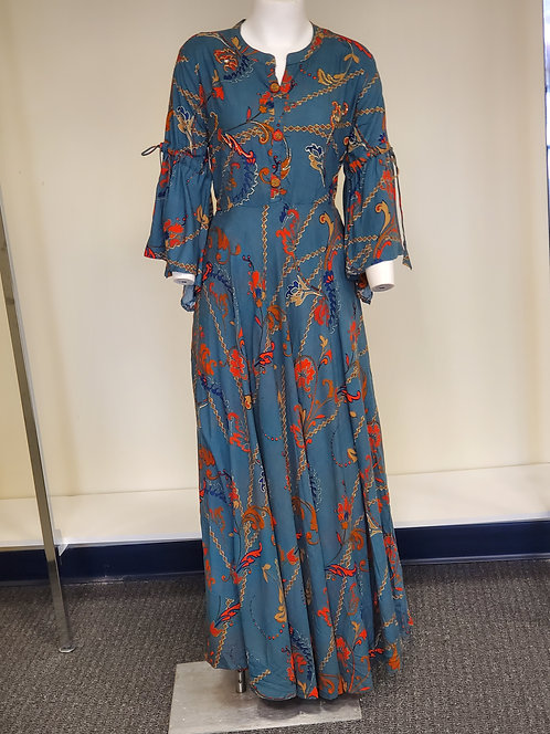 Cotton Long Flared Fusion Dress / Gown