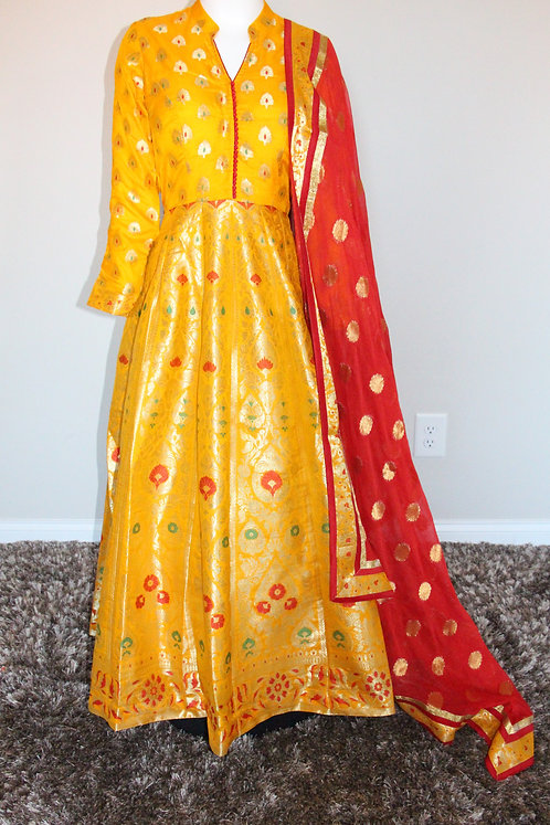 Gold Yellow Banarasi Silk Anarkali Suit